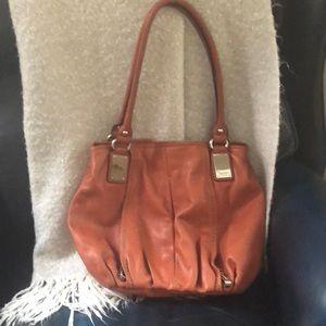 Tignanello purse orange leather handbag